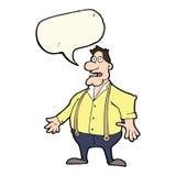 Cartoon shocked man with speech bubble Royalty Free Stock Photos