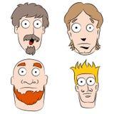 Cartoon Shocked Men Set Stock Image