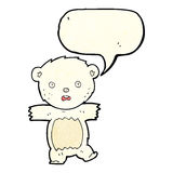 Cartoon shocked polar bear cub with speech bubble Stock Photography