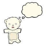 Cartoon shocked polar bear cub with thought bubble Stock Photo