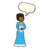 Cartoon shocked victorian woman with speech bubble Royalty Free Stock Photos