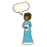 Cartoon shocked victorian woman with speech bubble Royalty Free Stock Photo