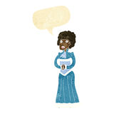 Cartoon shocked victorian woman with speech bubble Stock Photography