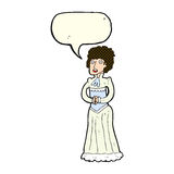 Cartoon shocked victorian woman with speech bubble Stock Image