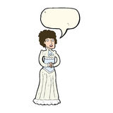 Cartoon shocked victorian woman with speech bubble Royalty Free Stock Image