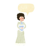 Cartoon shocked victorian woman with speech bubble Stock Images