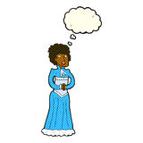 Cartoon shocked victorian woman with thought bubble Royalty Free Stock Photography