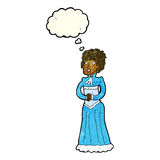 Cartoon shocked victorian woman with thought bubble Royalty Free Stock Photo