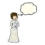 Cartoon shocked victorian woman with thought bubble Stock Images