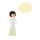 Cartoon shocked victorian woman with thought bubble Stock Photography