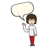 Cartoon shocked woman waving hand with speech bubble Royalty Free Stock Photography