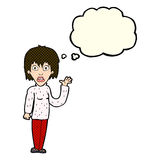 Cartoon shocked woman waving hand with thought bubble Royalty Free Stock Images