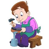 Cartoon shoemaker, cobbler Royalty Free Stock Images