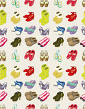 Cartoon shoes set seamless pattern. Drawing Stock Images