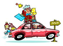 Cartoon shoppers. Cartoon caricature of couple in car chasing sales Royalty Free Stock Photos