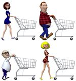 Cartoon Shoppers Shopping Cart. Happy smiling cartoon people Shoppers push Shopping Carts. Isolated on white. 3D illustration royalty free illustration