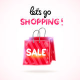 Cartoon shopping bag. Vector sale illustration Stock Images