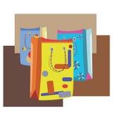 Cartoon shopping bags Stock Image