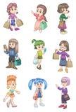 Cartoon shopping girl. Vector drawing Royalty Free Stock Images
