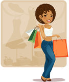 Cartoon shopping girl (African) Stock Photography