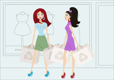 Cartoon shopping girls with reusable shopping bags Royalty Free Stock Photography