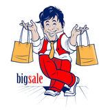 Cartoon shopping man. big sale Stock Photo