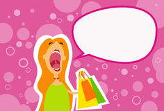 Cartoon Shopping Woman Scream Open Mouth Chat Stock Photography