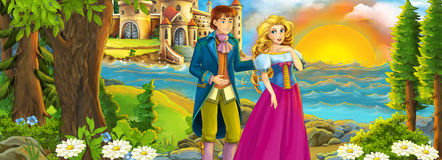 Cartoon shore with castle - prince and princess - loving couple Royalty Free Stock Photo