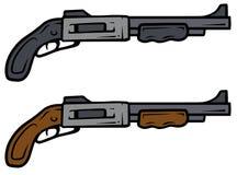 Cartoon shotguns vector weapon icons. Cartoon shotguns isolated on white background. Vector weapons firearms icons Stock Photography