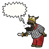 Cartoon shouting medieval warrior. Retro cartoon with texture. Isolated on White Stock Images