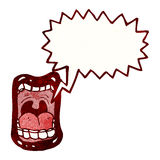 Cartoon shouting mouth symbol. Retro cartoon with texture. Isolated on White Stock Image