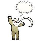Cartoon shouting old man. Retro cartoon with texture. Isolated on White Stock Photos