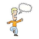Cartoon shrieking man with speech bubble Royalty Free Stock Photo