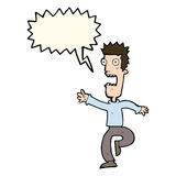 Cartoon shrieking man with speech bubble Stock Image