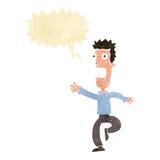 Cartoon shrieking man with speech bubble Stock Photos