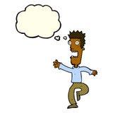 Cartoon shrieking man with thought bubble Royalty Free Stock Photography