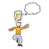 Cartoon shrieking man with thought bubble Stock Photos