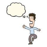Cartoon shrieking man with thought bubble Stock Photography