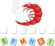 Cartoon shrimp crossword. Vector illustration. Cartoon shrimp crossword. Put the letters in the correct order Stock Photo