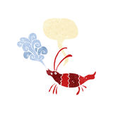 Cartoon shrimp with speech bubble Royalty Free Stock Image