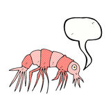 Cartoon shrimp with speech bubble Stock Image