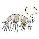 Cartoon shrimp with speech bubble Royalty Free Stock Photos