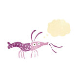 Cartoon shrimp with thought bubble Royalty Free Stock Photo