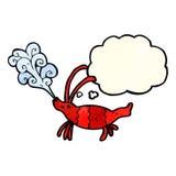 Cartoon shrimp with thought bubble Stock Photo