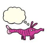 Cartoon shrimp with thought bubble Royalty Free Stock Photos