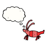 Cartoon shrimp with thought bubble Stock Photo