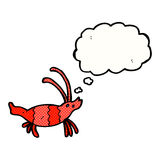 Cartoon shrimp with thought bubble Royalty Free Stock Photos