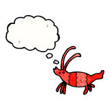 Cartoon shrimp with thought bubble Stock Photography