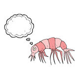 Cartoon shrimp with thought bubble Stock Images