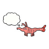 Cartoon shrimp with thought bubble Royalty Free Stock Images